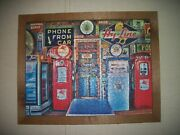 Man Cave Framed Puzzle Of Garage And Old Gas Pumps And Signsandnbsp