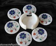 Marble Coasters For Cup And Glasses Pietra Dura Inlay Work Handmade C15