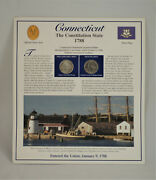 Commemorative Connecticut 1999 Us State Quarter Andstamps Display Info Card A1646