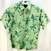 Ono And Company Shirt Size Large Green Polo Collared Palm Trees Mens 2225