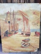 Beautiful Watercolor On Cardboard Painting Of A Village Harbor - As Is