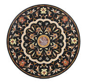 48 X 48 Marble Round Coffee Table Top Semi Precious Stone Inlay Marquetry Work