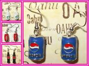 Pepsi Coke Can Bottle Starbucks Cup Iconic Earrings Silver Plated Drop Usa Made