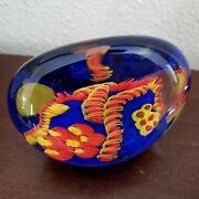 Chuck C Walters Art Glass Paperweight Sea Life Coral Reef Orange Blue Signed