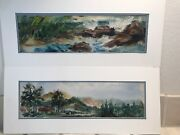 Two Landscape And Seascape Watercolor Paintings Magda M Schramm Original Art Ny