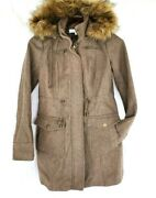 Xs New York And Co. Deluxe Wool Blend Peacoatremovable Hood/fur Trimcinch Waist