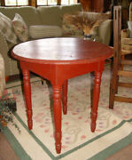 19th C Missouri Round Top Game / Tavern Table Brick Red Old Paint