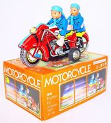 China Mf-162 Police Officer Duo On Motorcycle Friction Tin Toy Mib`78 Top Rare