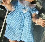 Tiny Tears Baby Doll Clothes Dress Gingham Blue Checked 1950and039s 16- 18 Dolls