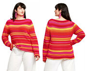 Isaac Mizrahi X Target Striped Boat Neck Pullover Sweater - Womens Plus Size 2x