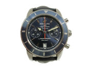 Breitling Super Ocean A23370 Automatic Navy Stainless Leather Chronograph Menand039s