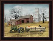 Hayride By Billy Jacobs 16x20 Tractor Wagon Pumpkins Black Cat Framed Picture