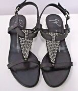 Giuseppe Zanotti Black Low Wedges W/ Crystal Front Strip And Ankle Strap - 39 1/2