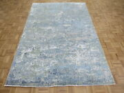6 X 9and0391 Hand Knotted Modern Abstract Light Blue Oriental Rug With Silk G8181