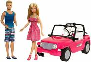Barbie Jeep Vehicle Play Set Ken Doll Girls Toys Pink Toy Car Dolls Included Kit