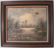 Oil On Canvas Signed H. Carrez Of Drake Mallards In Flight Over Lake 20 X 24