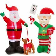 Santa With Puppy And Elf Giant Christmas Inflatable Bundle 8 Ft Each With Inf...