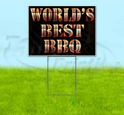 Worldand039s Best Bbq 18x24 Yard Sign With Stake Corrugated Bandit Usa Business Grill