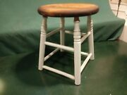 Antique Wood Stool...dove Tailed Round Top...four Leg...hard Wood Furniture