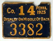 1925 Metal Pa Pennsylvania Resident Hunting License 3382 Pgc Game Commission