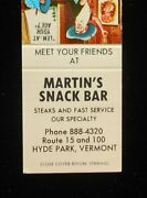 1960s Martin's Snack Bar Route 15 And 100 Hyde Park Vt Lamoille Co Matchbook