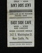 1938 East Side Cafe Beer Home Cooked Meals Phone 9369 New Castle Pa Lawrence Co