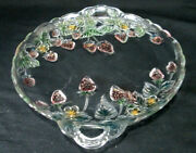 Handled Glass Serving / Cake / Tort Plate / Platter / Tray Colored Strawberries