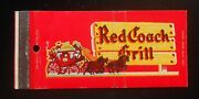 1950s Full Length Red Coach Grill Saugus Wayland Hingham Ma Yonkers Ny Matchbook