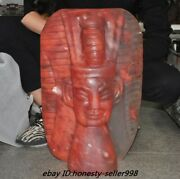 20 Huge Chinese Hongshan Culture Red Crystal Carving Snake Sun God Head Statue