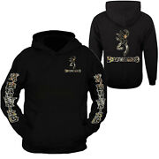 Camo Browning Design Black Hoodie Hooded Sweatshirt Front And Back S - 3xl