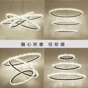 Dimmable Modern Remote Led Luxury Crystal Ring Chandelier Living Room Restaurant