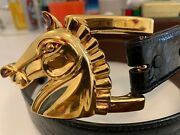 100 Unisex Authentic Kieselstein Cord Belt With Large Gold Horse Buckle