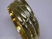 Ladyand039s Bangle Bracelet Set 4 Yellow Gold Plated Aros 6mm Wide 9in Hand Engraved