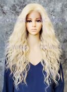Long Wavy Heat Safe Lace Front/top Human Hair Blend Wig Light Blonde Mix Evff