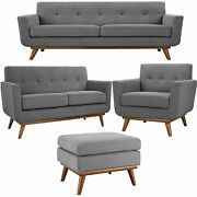 Modway Engage Mid-century Modern Upholstered Fabric Sofa Loveseat Arm Loung...