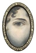 Antique Vintage 18/19c Oval Miniature Hand Painted Painting Ladyandrsquos Eye Gilt Old