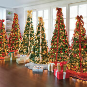 Green 6 Foot Decorated Pre-lit Christmas Tree Multiple Ribbon Colors Holidays