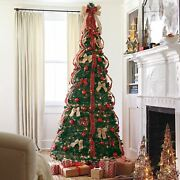 Green 7.5 Foot Decorated Pre-lit Christmas Tree Multiple Ribbon Colors Holidays
