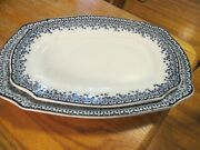 2- Antique Serving Plate Platter Blue White China Brownfield Ayr Victorian=rare
