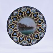 Antique Swiss Thoune Majolica Hand Painted Wall Plate19thc