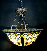Stained Glass Pendant Chandelier 3 60w Max Bulbs 16 Dia. Ceiling Light Fixture