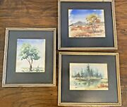 Nature Watercolor Paintings Original Vintage Set 3 Trees Forest Hills Blue Green
