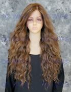 Long Wavy Heat Safe Lace Front/top Human Hair Blend Wig Light Brown/blonde Evff