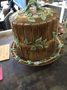 George Jones Majolica Fence And Vine 19th C. English Signed Large Cheese Dome Keep