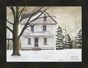 Winter Porch By Billy Jacobs 22x28 Framed Picture Art Christmas House Snow Pine