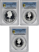 Laos 1975 Trio Of Silver Coin 3 Coins. All Certified By Pcgs Proof Deep Cameo