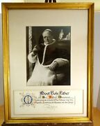 Pope Pius Xi Rare Large Framed Photograph And Signed Papal Blessing And Seal C.1920s