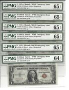 Six Sequential - 1935-a 1 Silver Certificate, Hawaii, Pmg 64/65 Epq