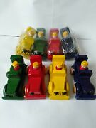 8 - Cars Toy Wooden Handmade Painted Wood Handcrafted Red/yellow/green/blue
