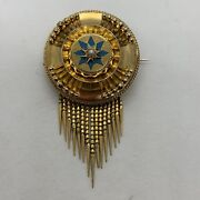 Antique Victorian 14k Yellow Gold Star Pearl Turquoise Fringe Locket Brooch Pin